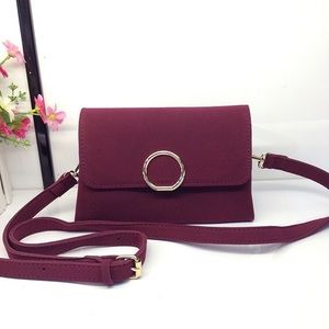 Wine red women's square gold ring decor bag